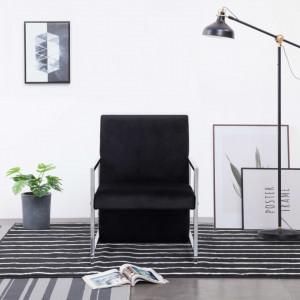 Fotoliu cu picioare cromate, negru, catifea - V282157V
