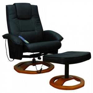 Fotoliu de masaj cu taburet, negru, piele ecologica - V60277V