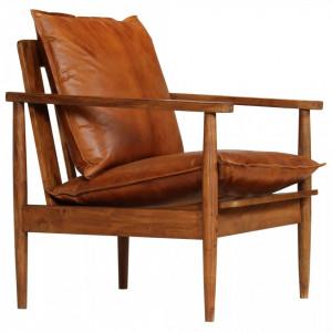 Fotoliu, maro, piele naturala & lemn de acacia - V246480V