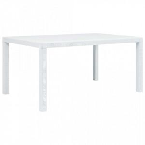 Masa de gradina, alb, 150 x 90 x 72 cm, plastic, aspect ratan - V45604V