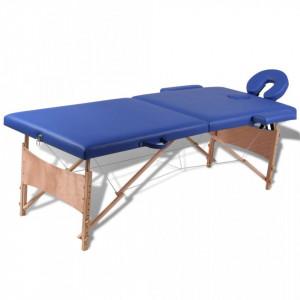 Masa de masaj pliabila 2 parti cadru din lemn Albastru - V110075V