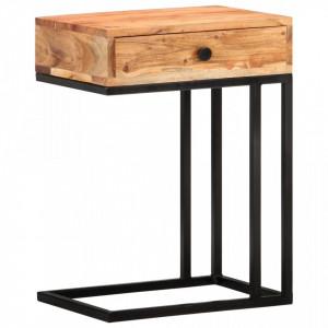 Masa laterala forma U, 45 x 30 x 61 cm, lemn masiv de acacia - V289090V