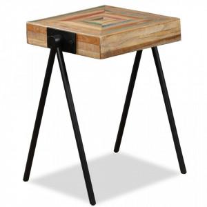 Masa laterala, lemn masiv de tec reciclat - V245408V
