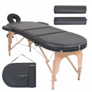 Masa masaj pliabila, 10 cm grosime, cu 2 perne, oval, Negru - V110159V