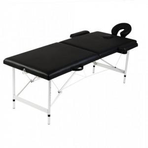 Masa masaj pliabila, 2 zone, negru, cadru aluminiu - V110088V