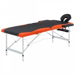 Masa pliabila de masaj, 2 zone, negru si portocaliu, aluminiu - V110227V