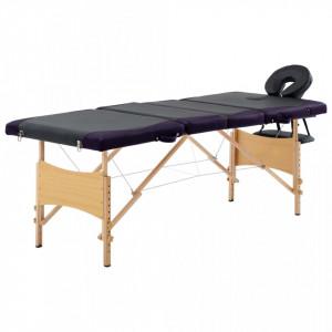 Masa pliabila de masaj, 4 zone, negru si violet, lemn - V110223V