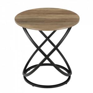 Masuta cafea Greta, 61 x 59 cm, PAL/metal, culoarea lemnului/negru - P66842838