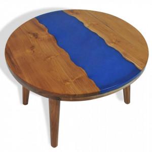 Masuta de cafea, 60 x 40 cm, lemn de tec si rasina - V245066V