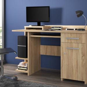 MBBI8 - Birou 124 cm, masa de calculator cu 1 sertar si 1 dulap, office - Alb, Sonoma, Cires, Maro