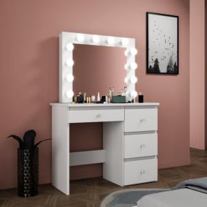 MBMT11 - Set Masa toaleta, 94 cm cosmetica machiaj oglinda masuta vanity, oglinda cu LED-uri - Alb