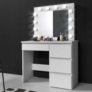 MBMT2 - Set Masa toaleta, 94 cm cosmetica machiaj oglinda masuta vanity, oglinda cu LED-uri - Alb, Sonoma sau Negru