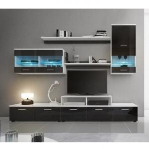 Mobilier living, alb/extra strălucire neagră HG, LEO