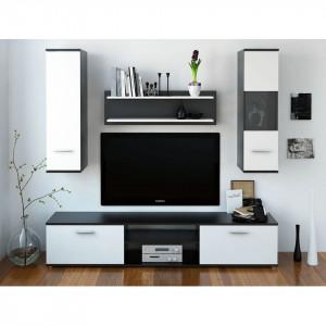 Mobilier pentru living, negru/alb, WAW NEW