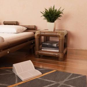 Noptiera, 40 x 40 x 40 cm, bambus, maro inchis - V244608V