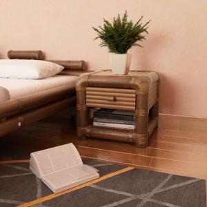 Noptiera, 45 x 45 x 40 cm, bambus, maro inchis - V244610V