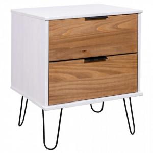 Noptiera, lemn deschis si alb, 45 x 39,5 x 57 cm, lemn de pin - V321119V