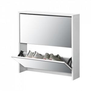 Pantofar Toni, 67 x 63 x 17 cm, PAL melaminat/ oglinda, alb cu 2 compartimente depozitare, 6 perechi pantofi - P64003548