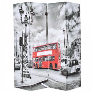 Paravan camera pliabil, 160x170 cm, autobuz londonez, negru/alb - V245874V