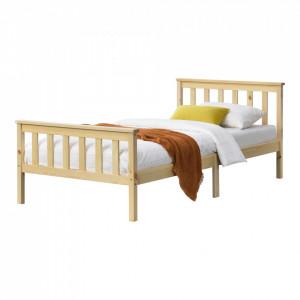 Pat lemn Breda 120NH, 209 x128 x 80 cm, lemn brad/PAL, culoarea lemnului,150 Kg, dublu, fara saltea - P72021420