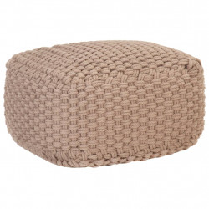 Puf tricotat manual, maro, 50 x 50 x 30 cm, bumbac - V287601V
