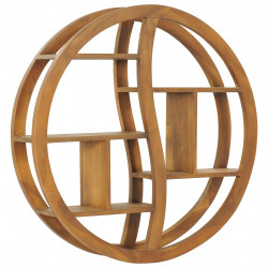 Raft de perete Yin Yang, 80 x 17,5 x 80 cm, lemn masiv de tec - V320771V