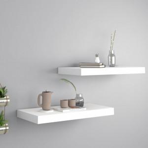 Rafturi de perete suspendate, 2 buc., alb, 50x23x3,8 cm, MDF - V323809V
