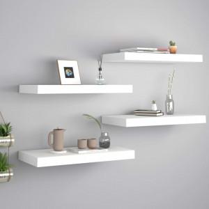 Rafturi de perete suspendate, 4 buc., alb, 50x23x3,8 cm, MDF - V323810V
