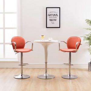 Scaun de bar cu brate, portocaliu, piele ecologica - V249697V
