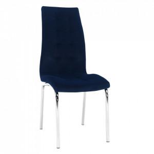 Scaun de masă, ţesătură albastră din catifea / crom, GERDA NEW