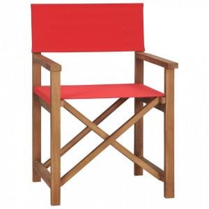 Scaun de regizor, rosu, lemn masiv de tec - V47414V