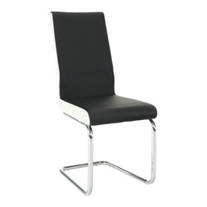 Scaun dining, piele ecologică neagră, albă/crom, NEANA
