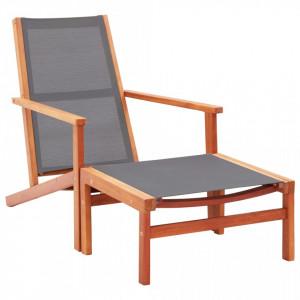Scaun gradina cu taburet, gri, lemn masiv eucalipt & textilena - V48696V