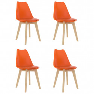 Scaune de bucatarie, 4 buc., portocaliu, plastic - V289145V