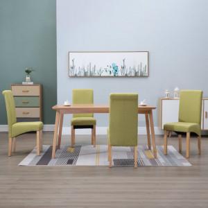 Scaune de sufragerie, 4 buc., verde, material textil - V249030V