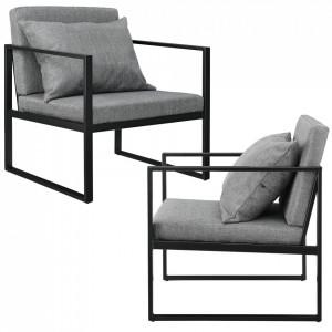Set 2 bucati fotolii design - 70 x 60cm - cu perna pentru spate - gri inchis - P55221105