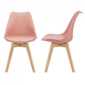Set 2 bucati scaune design Tori, 81 x 49 x 57cm, imitatie piele, lemn de fag, roz - P67291231