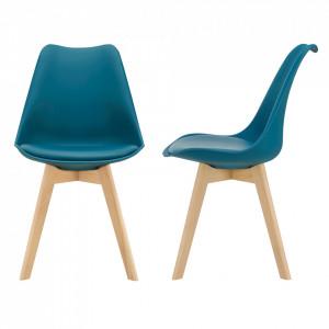 Set 2 bucati scaune design Tori, 81 x 49 x 57cm, imitatie piele, lemn de fag, turcoaz - P67291233