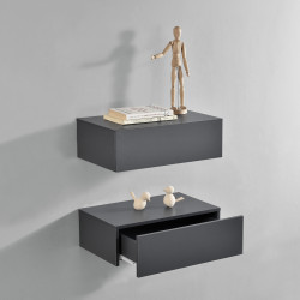 Set 2 x comoda suspendata cu 2 sertare Model 5, MDF, 46 x 30 x 15 cm,- gri inchis - P56253874
