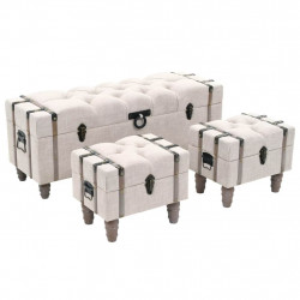 Set banca depozitare 3 buc, lemn masiv si otel, 112x37x45 cm - V245762V