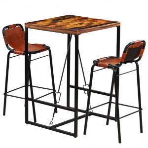 Set bar 3 piese, lemn masiv reciclat, piele naturala de capra - V246286V