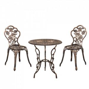 Set bistro Dina, masa rotunda 60 x 67 cm, scaun 42 x 83 cm, metal, culoarea bronzului - P52368784