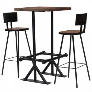 Set de bar, 3 piese, lemn masiv reciclat - V245394V