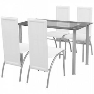 Set masa cu scaune, 5 piese, Alb - V242913V