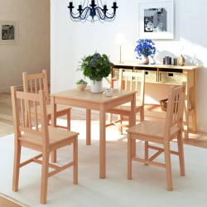 Set masa si scaune din lemn de pin, 5 piese - V242958V