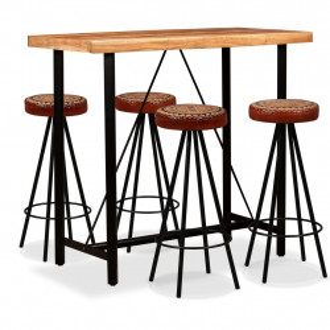 Set mobilier bar, 5 piese, lemn acacia, piele naturala & panza - V275132V