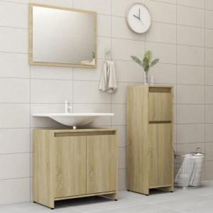 Set mobilier de baie, 3 piese, stejar Sonoma, PAL - V3056928V