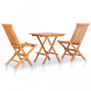 Set mobilier de bistro pliabil, 3 piese, lemn masiv de tec - V48997V