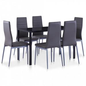 Set mobilier de bucatarie, 7 piese, gri - V281696V