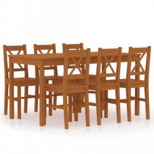 Set mobilier de bucatarie, 7 piese, maro miere, lemn de pin - V283374V